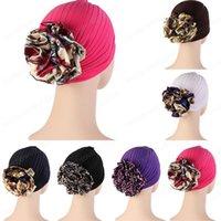Beautiful Solid Color Turban Hat Big Flower Indian Hats Muslim Women Hijab Caps For Bonnet Pleated Turban Head Wrap