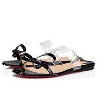 Nuova vendita calda donna sandali estivi, donne lussuose sandali rossi sandali, signora da sposa party vestito scarpe solo nodo pvc cinghia e fiocco nero Nuede