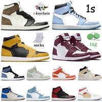 2021 Jumpman 1 1S Hombre alto OG Zapatos de baloncesto Bordeaux Colgantes de oro Black Toe Obsidian UND Hyper Royal University Blue Twist Mujer Sneakers Transacios Tamaño 36-46