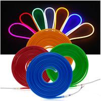 12 вольт светодиодный неоновый полоса легкая гибкая лента лампа SMD 2835 120 светодиодов / м Открытый водонепроницаемый мягкий веревочный бар огни теплый белый красный синий