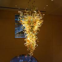 Lámpara de techo de lámpara de araña de cristal de Murano 100% Hecho a mano Lámparas de color dorado Lámparas de colgantes LED personalizadas