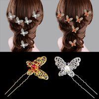 Bridal Headpieces Placa Acessórios de Cabelo Grande Borboleta Forquilha Forquilha U-Em forma de Cocar Headdress Headpin Pearl Diamond Pin Pin Hairpins Vermelho e Branco