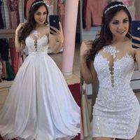 2021 vestidos de noiva curtos com trem destacável chiffon laço applique sem mangas frisada feita personalizada pérolas casamento vestido nupcial vestido