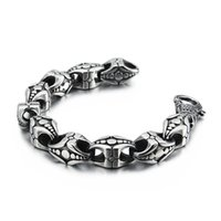 Braccialetti di fascino Gioielli Negozio di gioielli 12mm Colore argento Punk Braccialetto da uomo Acciaio inossidabile Biker gioielli regalo per uomo JB112928-BD