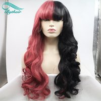 Perruques noires à moitié rouge / à moitié noires de ByplairShop avec franges à fibre résistante à la chaleur vague de corps de la chaleur NOUVEAU Perruques avant de style de dentelle synthétique pour cosplay / fête