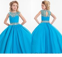 2020 Rachel Allan Girls Pageant Dresses For Teens Illusion Neck Cap Sleeve Crystal Beades Pink Long Party Kids Flower Girl Gown HY1138