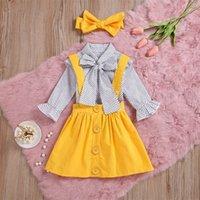2019 Sıcak Satış 3 Adet Toddler Bebek Bebek Kız Nokta Baskı Tops T Gömlek Kayışı Etek Kıyafetler Set Dropshipping Bebek Giysileri 420 Y2