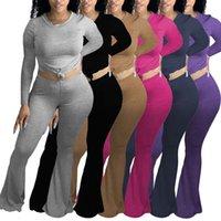 2020 mulheres moda roupas lazer esportes de algodão casa de manga longa terno de duas peças trombeta calça a nova listagem