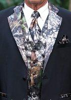 Camo Mariage Tuxedos Cuve des hommes Porter Blazer avec gilet