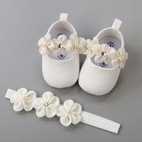 Fascia in cotone Soft Sole Flower Shoes Set per neonato bambina battesimo Scarpe da letto Battesimo Battesimo Flillo Carino Avorio First Walkers 210312