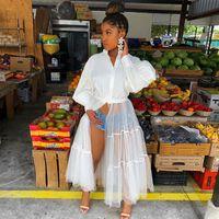 Casual Dresses Hirigin 2021 Spring Chic Women Puff Sleeve Blouse Patchwork Sheer Mesh Dress Party Night Club Vestidos African Shirt