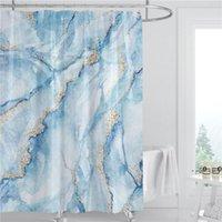 대리석 패턴 샤워 커튼 180cm 폴리 에스터 패브릭 방수 욕실 장식 여름 3D 인쇄 샤워 커튼 후크 EWD5246