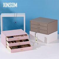 Boîte à bijoux minimaliste Boîte de cercueil Type Type Trois Couches High Capacité Bijoux Emballage Affichage Boîte de rangement Boîte d'anniversaire Cadeau d'anniversaire