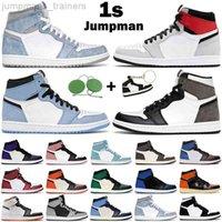 Jumpman Men Женские баскетбольные туфли 1s High og 1 Hyper Royal University Blue Unc Патентные углеродные волокна Turf Orange Mens Trainers Sports
