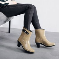 Autumn and Winter Korean Fashion High Heels Cotton Rain Shoes Women's Side Buckle Middle Tube Plush Boots Rubber Water