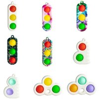 Decompression Traffic Lights Simple Dimple Fidget Toy Small Stress Relief Keyring Pendant Autism Special Needs Adult Kids Toys