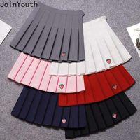 Joinyouth Ploated Skirt Summer Women's High Waist Waist Ricamo Mini Faldas Fashion Slim Vita Casual Tennis Gonne Gonne School 7B015 210309