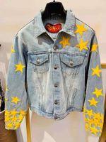2019 Caída e invierno Nueva moda diseñadora para hombre Hentagram Decoración de Denim Jacket ~ Tamaño de los EE. UU. Tamaño ~ Tops Designer Denim Chaquetas para hombres