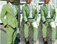 Men's Suits & Blazers Green Men Slim Fit 2 Buttons Peaked Lapel Groom Wedding Wear Beach Casual Party Prom Tuxedos (Jacket+Pants) Costume Ho
