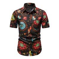 Мужская тонкая подходит для цветочных петлиных рубашек Мужской повседневная кнопка вниз с короткими рукава Гавайский пляж Пляж Цветочная рубашка Основные топы A213