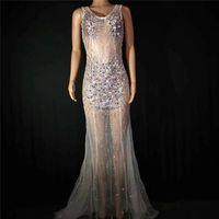 Украшение партии D87 Бальные танцы вечернее платье красочные горный хрусталь длинная юбка перспективы сценические костюмы выполняют носить одежду одежды DJ