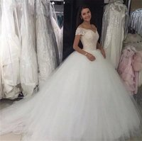 Lace Top Tulle Wedding Bridal Gowns Boho Beach Wedding Gowns Off Shoulders Ball Gown Wedding Dresses