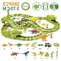 Dinosaur Railway Toy Car Track Racing Set Educational Bend Flexible Race Flash Light s For Children Boys