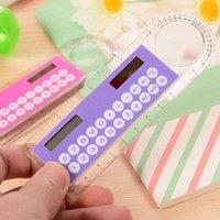 Calculatrices mini-plastique arithmétique portable énergie solaire énergie solaire créatif multifonction 10cm règle étudiants papeterie cadeau djzt
