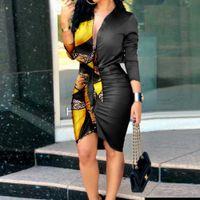 Yaz V Yaka Lace Up Baskı Patchwork Uzun Kollu Gömlek Elbise Kadın Rahat Yaka Düğme Pileli Paket Kalçalar Saten Elbiseler Femme 210526