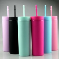 16oz Acrylic Tumblers Matte Colors Double Wall 500ml Tumbler Coffee Drinking Plastic Sippy Cup With Lid Straws WHT0228