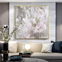 Paintings Huge Pink Flower Picture Wall Art 100% Hand Painted Modern Abstract Oil Painting On Canvas For Living Room Home Decor No Frame