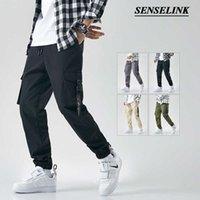 Senselink M-8XL Bahar Yeni erkek Tulum Klasik Açık Saf Pamuk Rahat Çok Cep Tulum Erkek Pantolon X0611