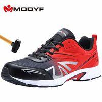 Modyf Mens Steel Toe Работа Обувь Безопасность Обувь Легкий Дышащий Anti Crashing Без скольжения Конструкция Защитная Обувь A3TP #