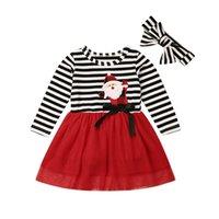 Baby Girl Tutu Dress With Headband Infant Christmas Santa Claus Love Print Stripe Long Sleeve Kids Summer Gauze Skirt Party Elegant Agaric Lace
