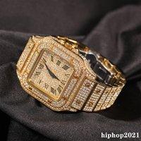 전체 다이아몬드 아이스 아웃 손목 시계 새로운 패션 힙합 펑크 골드 실버 망 시계 캘린더 쿼츠 여성 스퀘어 다이얼 시계 선물