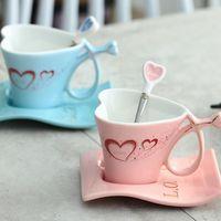 Cups & Saucers 180ML Ceramic Cup Creative Heart-shaped Couple Mug A Pair Of European Coffee Set Wedding Gifts