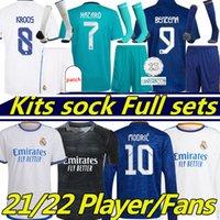 21/22 Real Madrid Soccer Jerseys Fans Spielerversion Alaba Gefahr Camavavy Benzema Asensio Modric Marcelo Langarm Fußball Hemd GK Kits Socke Full Sets 2021 2022