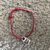 Braccialetti d'argento all'ingrosso UNO DE 50 / UNEDE50 Braccialetto Bracciale Gioielli Vendita calda Corda rossa con pendente in argento sterling 925