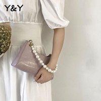 Yy pequeno ombro saco branco saco de pérolas feminino moda francês nicho de mão baguette ladies jacaré bolsa de jacaré