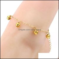 Jewelrybody Jewellery Anklets Foot Jewelry Gold Chain Anklet, Beaded Design Bell Charm Anklet Drop Delivery 2021 Pvkd1