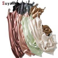 Suyadream Mulheres Seda SleepDress 100% Real Silk Silk Spaghetti Strap Long Nightgowns Verão Novos Vestidos Caseiros 210309