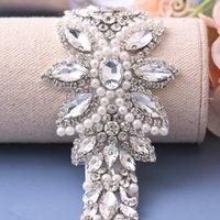 TopQueen S410 Strasssteine Hochzeit Gürtel Sash Silber Diamant Kristall Brautgürtel für Hochzeitskleid Hochzeit Dekoration Gürtel