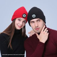 Winter Beanie Hat Unisex Beanie Soft Knitted Hat Wireless Bluetooth 5.0 Smart Cap Stereo Headphone Headset with LED Light with OPP bag