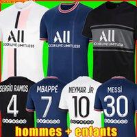 PSG Camiseta de fútbol 22 21 paris saint germain camisetas 2022 2021 SERGIO RAMOS HAKIMI MBAPPE NEYMAR JR ICARDI hombres + kit de niños maillot de foot 4th de la jerseys chandal