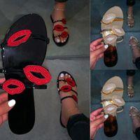 Women Slippers Summer Red Lips Rhinestone Fashion Female Shoes Wear Non Slip Casual Trend Ladies Sandals Outdoor Flip Flops 4.28 M0rk#