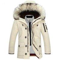 Зимняя куртка мужская енота мех с капюшоном белый вниз пальто теплые парку ветровка верхняя одежда куртки бежевый черный оранжевый Multi Pockets