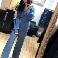 Kadın Eşofman 2021 Bahar Kadınlar Seksi V Boyun Batwing Kollu Örgü Kazakları + Elastik Bel Geniş Bacak Pantolon 2 Parça Giyim Seti Suits