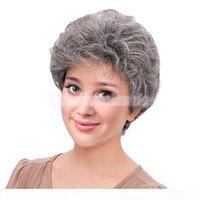 Ücretsiz shippingperfeclan zarif kadın lady kısa kıvırcık peruk gerçek insan saçı tam peruk + kap