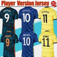 Spelarens version Fotbollstryckning # 9 Lukalu # 10 Pulisic Home Blue Soccer Jersey 2021/2022 # 11 Werner Fotbollskjorta 21/22 # 7 Kante # 19 Mount # 29 Havertz Uniforms Män Vuxen