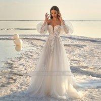 Boho Beach Wedding Dresses Bridal Gowns with Detachable Puffy Long Sleeves Off the Shoulder Appliques Lace A Line Vestido De Noiva Custom Size